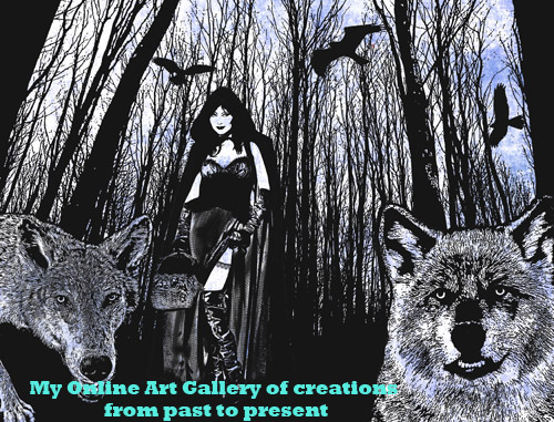 Gothic Red riding Hood Wolf Pack art