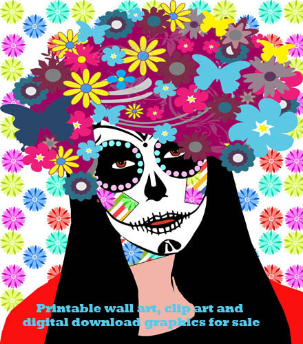 skull flower girl Day Of The Dead abstract